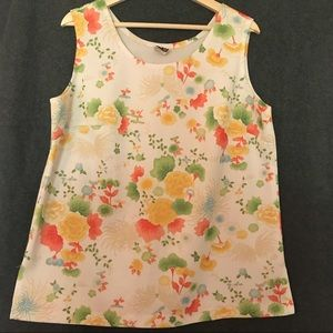 Vintage Floral Sleeveless Blouse